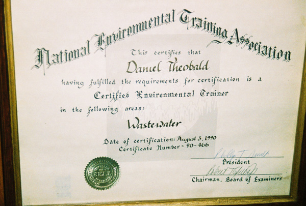 Certified Wastewater Trainer and other Credentials | ESDLT